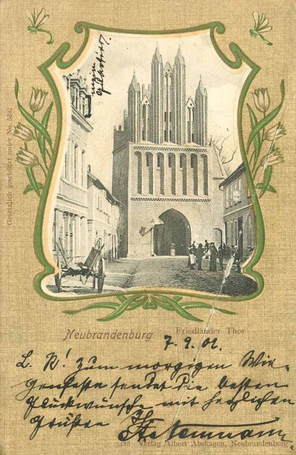 Alte Ansichtskarte Neubrandenburg Friedländer Tor 1902