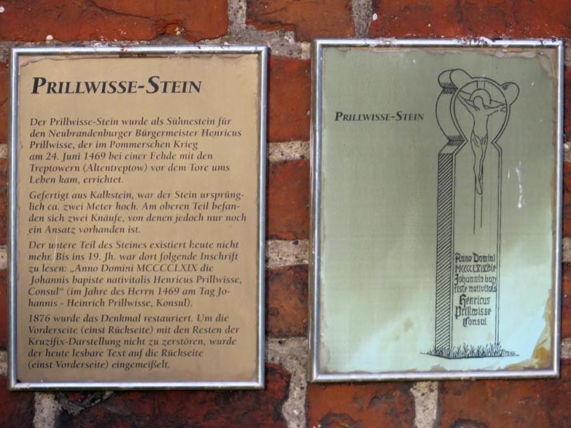 Prillwisse-Stein am Friedländer Tor in Neubrandenburg