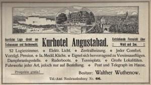 Alte Zeitungsanzeige - Kurhotel Augustabad in Neubrandenburg