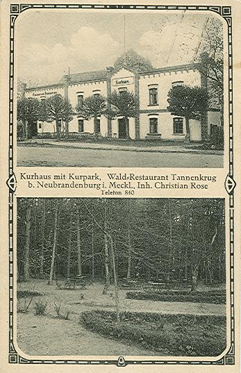 Alte Ansichtskarte Kurhaus Tannenkrug in Neubrandenburg