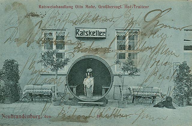 Alte Ansichtskarte Ratsweinhandlung Otto Mohr in Neubrandenburg