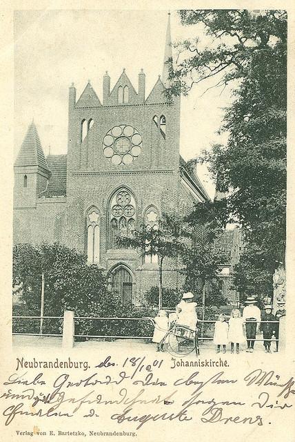 Alte Ansichtskarte Johanniskirche in Neubrandenburg
