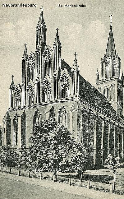 Alte Ansichtskarte Marienkirche in Neubrandenburg