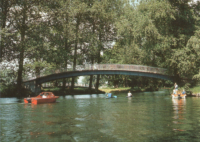 Alte Ansichtskarte Oberbachbrücke in Neubrandenburg