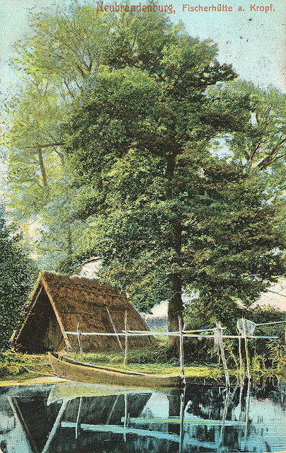 Alte Ansichtskarte Fischerhütte am Tollensesee in Neubrandenburg