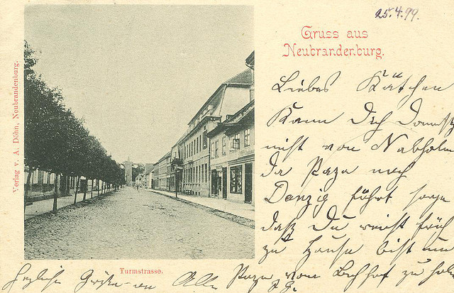 Alte Ansichtskarte Turmstrasse in Neubrandenburg