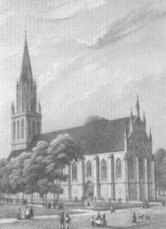 Stahlstich von Julius Gottheil Marienkirche in Neubrandenburg