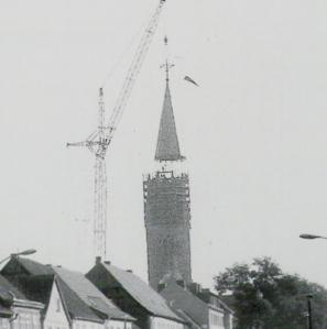 Neue Turmspitze Marienkirche in Neubrandenburg 1983