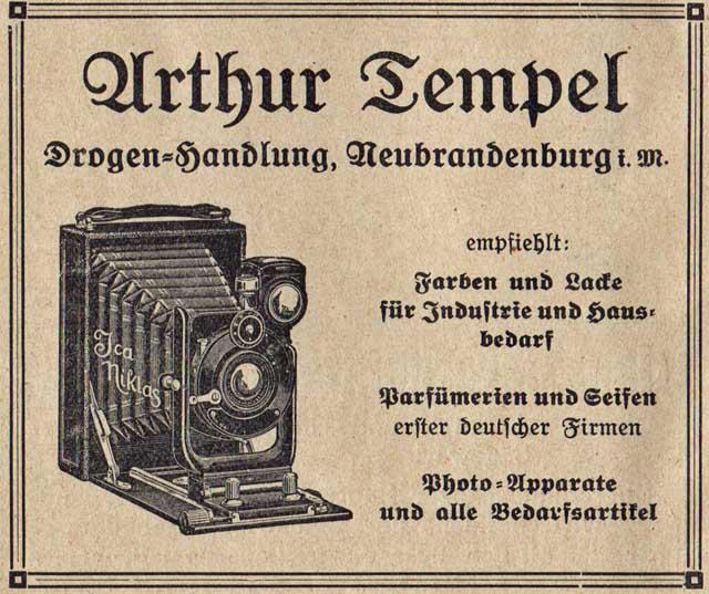 Alte Zeitungsanzeige - Arthur Tempel Drogen-Handlung in Neubrandenburg