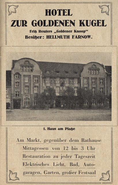 Alte Zeitungsanzeige - Hotel zur Goldenen Kugel in Neubrandenburg