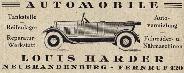 Alte Zeitungsanzeige - Automobile Louis Harder in Neubrandenburg