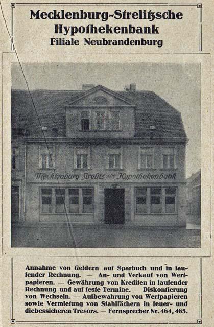 Alte Zeitungsanzeige - Mecklenburg-Strelitzsche Hypothekenbank in Neubrandenburg
