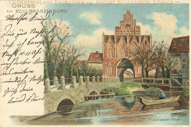 Alte Ansichtskarte: Treptower Tor in Neubrandenburg