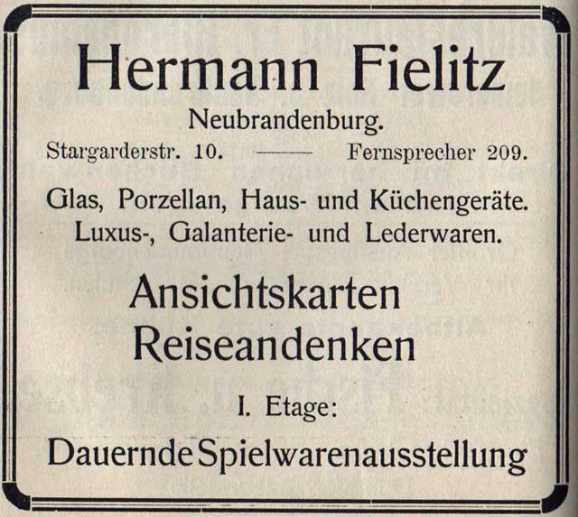 Alte Zeitungsanzeige - Hermann Fielitz in Neubrandenburg