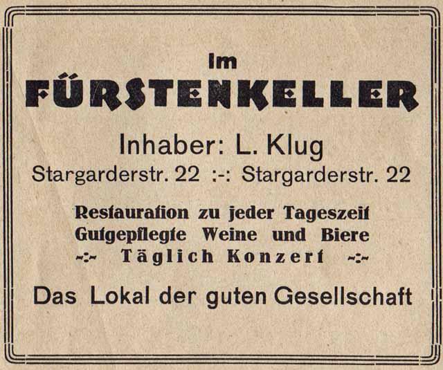 Alte Zeitungsanzeige - Fürstenkeller in Neubrandenburg