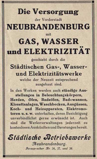 Alte Zeitungsanzeige - Städtische Betriebswerke Neubrandenburg