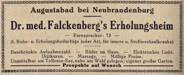 Alte Zeitungsanzeige - Dr. med. Falkenbergs Erholungsheim in Neubrandenburg