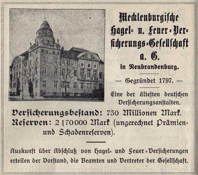 Alte Zeitungsanzeige - Mecklenburgische Hagel- und Feuer-Versicherungs-Gesellschaft in Neubrandenburg