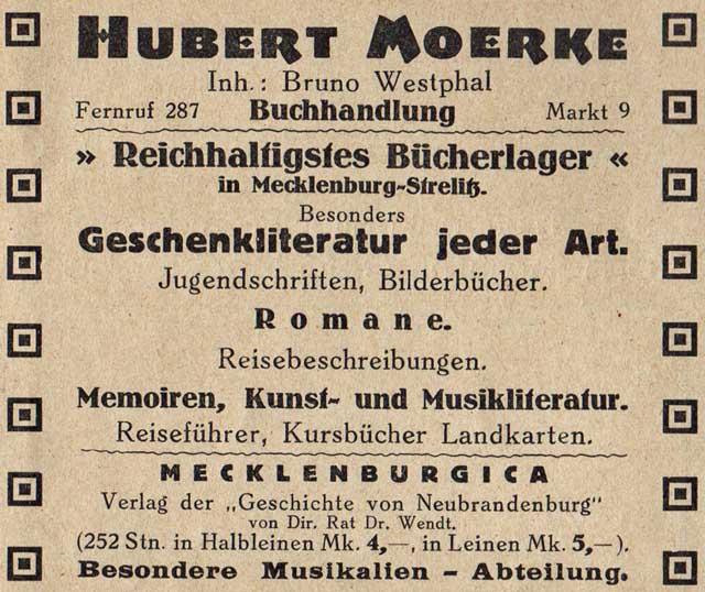 Alte Zeitungsanzeige - Buchhandlung Hubert Merke in Neubrandenburg