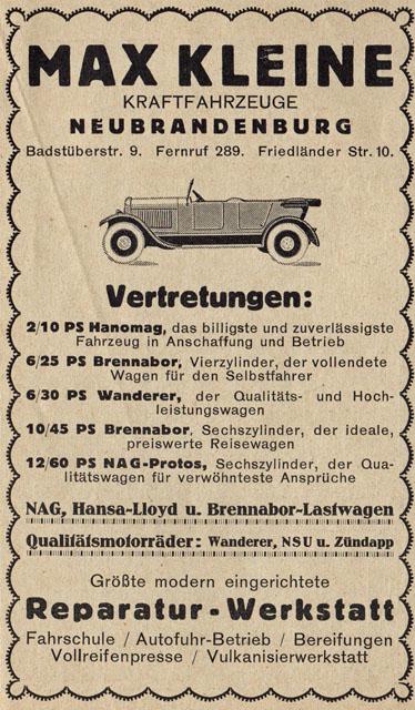Alte Zeitungsanzeige - Max Kleine Kraftfahrzeuge Neubrandenburg