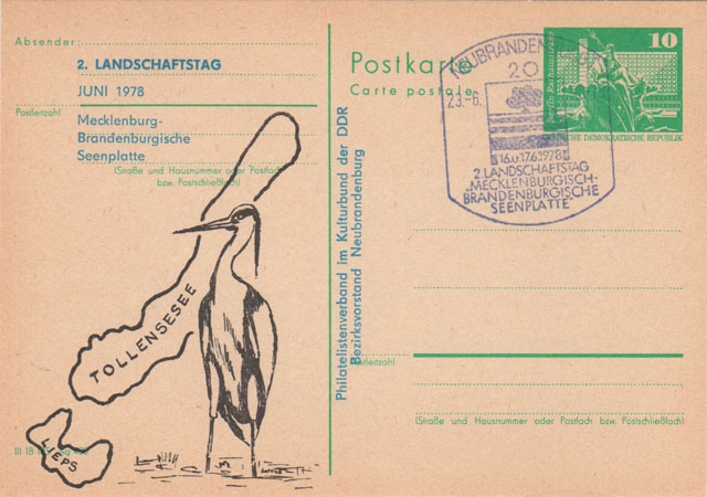 DDR-Postkarte - 2. Landschaftstag Mecklenburgisch-Brandenburgische Seenplatte Juni 1978
