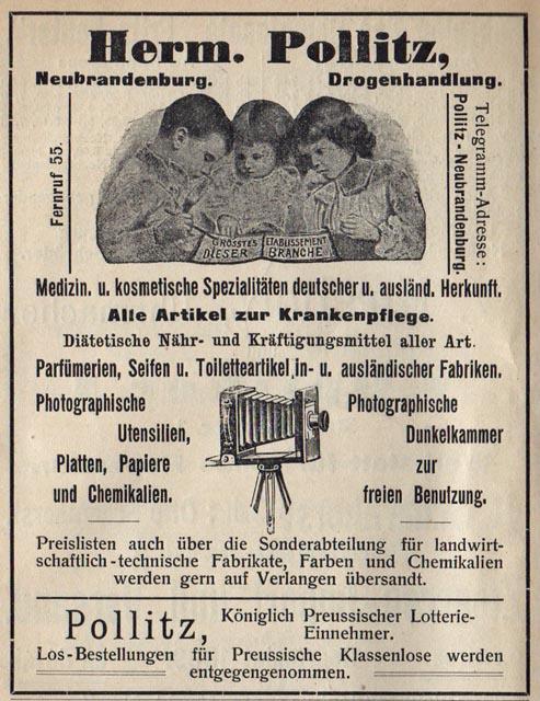Alte Zeitungsanzeige - Pollitz Drogenhandlung in Neubrandenburg