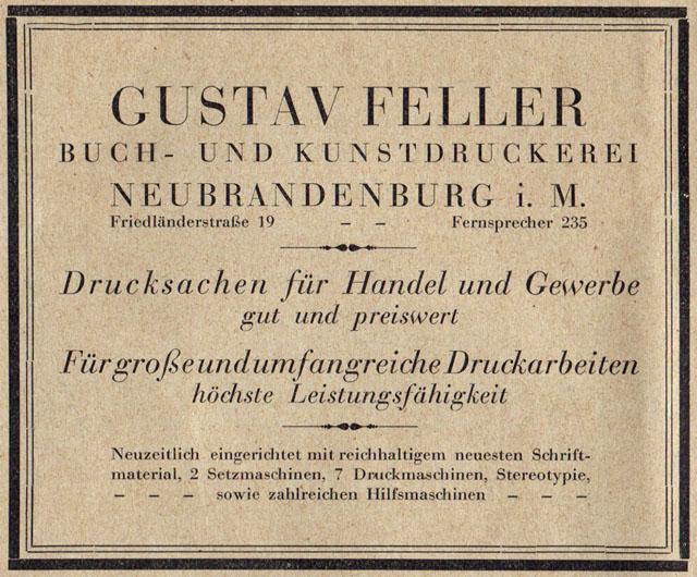 Alte Zeitungsanzeige - Gustav Feller Buch- und Kunstdruckerei Neubrandenburg