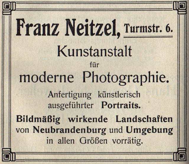 Alte Zeitungsanzeige - Franz Neitzel, Kunstanstalt für moderne Photographie in Neubrandenburg